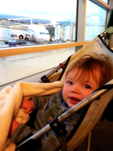 Front row seats as we wait to board his first flight