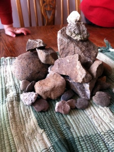 Our rock collection centerpiece