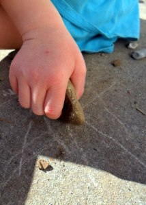 Sidewalk rock writing
