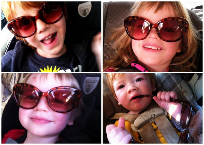 Having fun on the way home with Mommy's sunglasses- Goodbye Southern California- it's been fun!