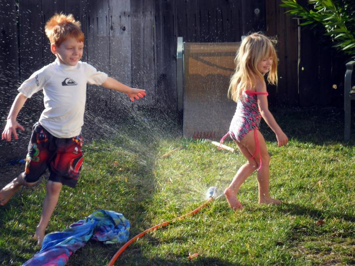 Having fun with the sprinkler in February