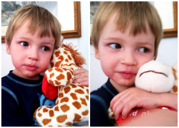"Z-urchin and his Giraffe.  He was asked repeatedly by his siblings, ""What are you going to name him?""  His answer never changed: ""Giraffe."""