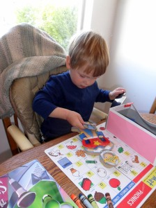 """My Toddler Tornado developing his attentiveness with his """"school toy"""""""