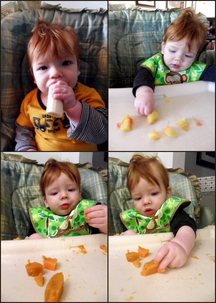 Bananas, apples, and sweet potato