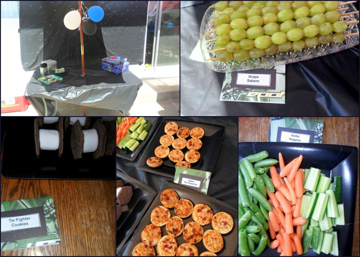 The food table, grape sabers, tie fighter cookies, jabba the pizza hut, and vader veggies