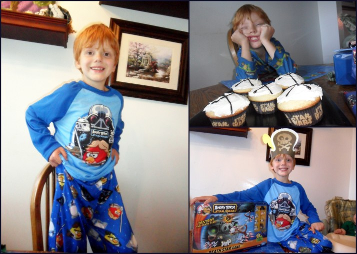 He loved his Angry Birds Star Wars jammies from his Auntie and his Angry Birds Star Wars Jenga from his uncle- this is one hapy birthday boy!