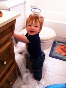 The baby and the toilet paper- totally cliche