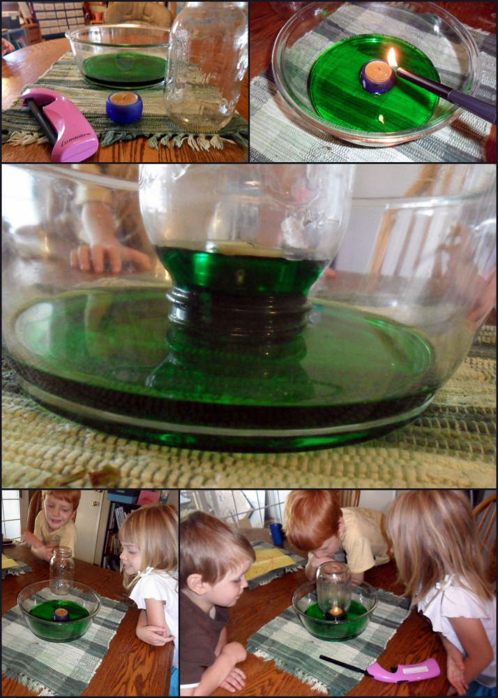 Experiment with a candle in a bowl of water covered by a jar.  So awesome.