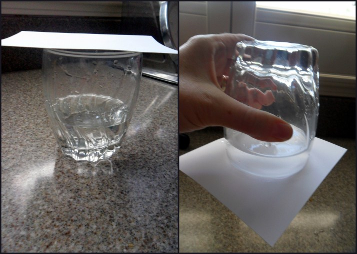 Cup of water and cardstock- pretty cool!