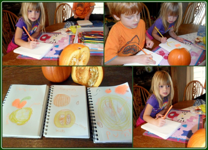 You can see the look on this girl's face- she is not interested in the inside of a pumpkin