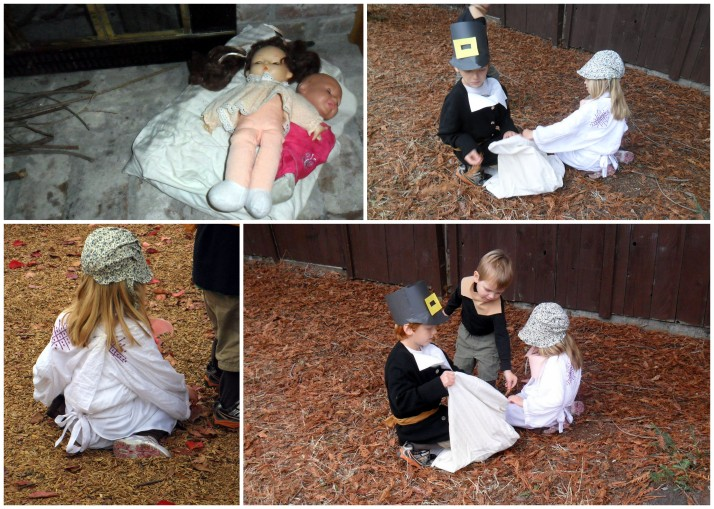 Stuffing their baby sisters' mattress- they slept all day comfortable by the fire