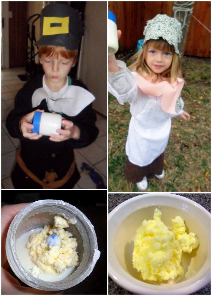 Making butter- it was delicious