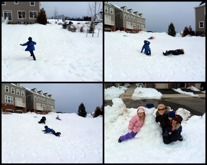Crunching the snow beneath our feet, Rolling down the hill, and our Snowman