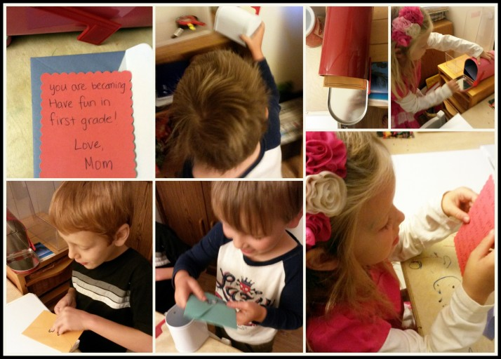 Getting their letters from mommy on the first day of school