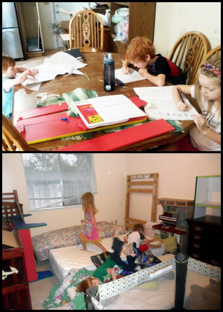 Some school happening in the chaos... and the chaos of bedtime on the first night