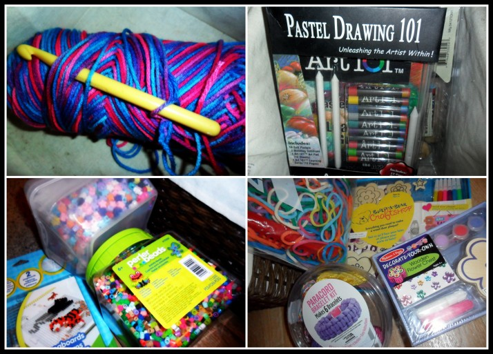 A lot of craft supplies: yarn & a crochet hook, pastels, various beads, a loom, and a few crafty kits.