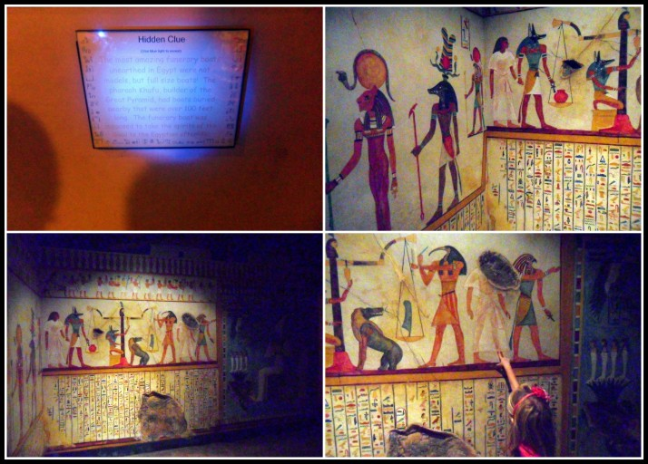 Our two favorite things: the hidden clues our special light we were given uncovered and the replica of the tomb we walked through