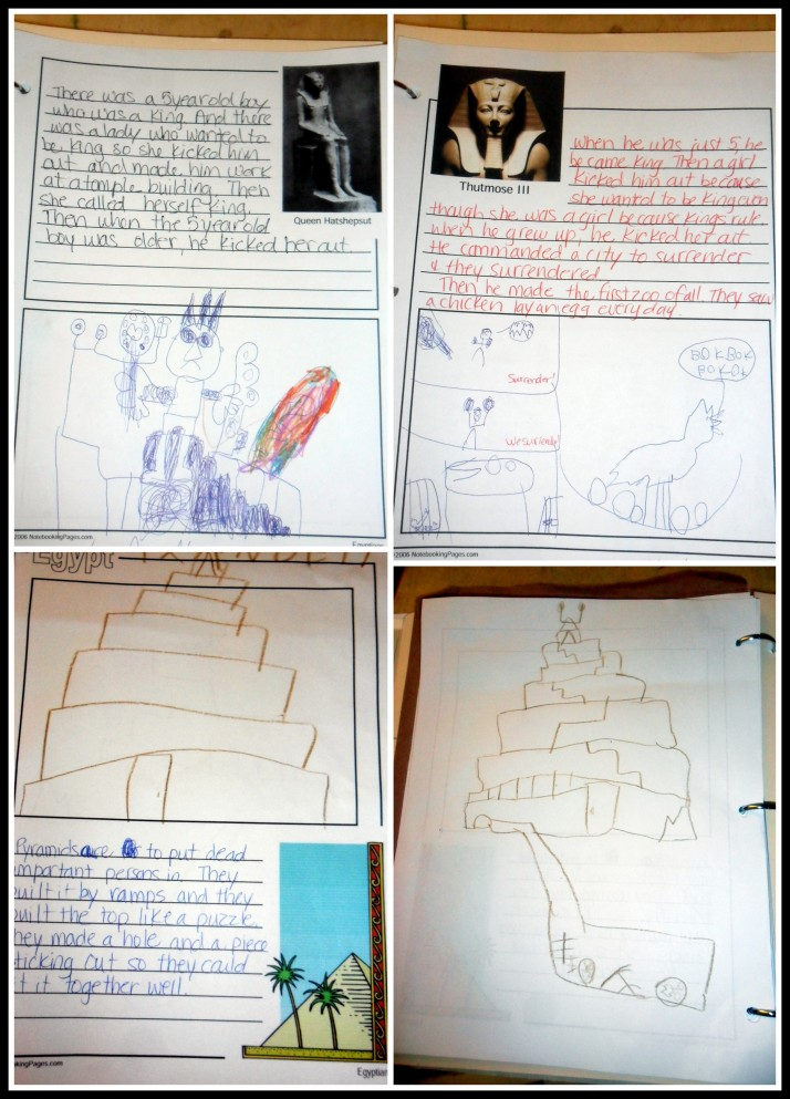 Notebook pages from some of our readings- notice the broken skeletons from the burial chamber under the pyramid... apparently someone broke into this tomb and messed with the mummies!